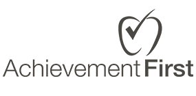 Logo for AchievementFirst, with an apple bearing a checkmark on it above the text.