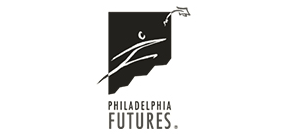 The logo for Philadelphia Futures, with a stylized drawing of a stick figure-style person and a graduation cap
