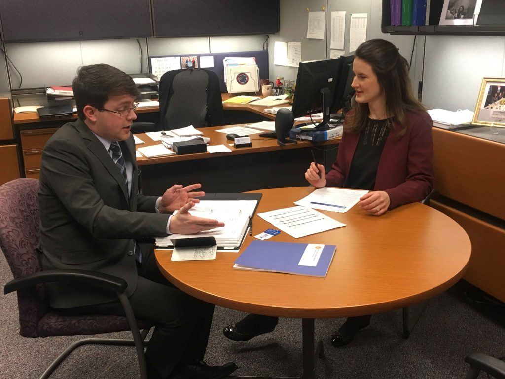 Kevin Milton '19 with Alison Nemeth '09 at the Federal Communications Commission