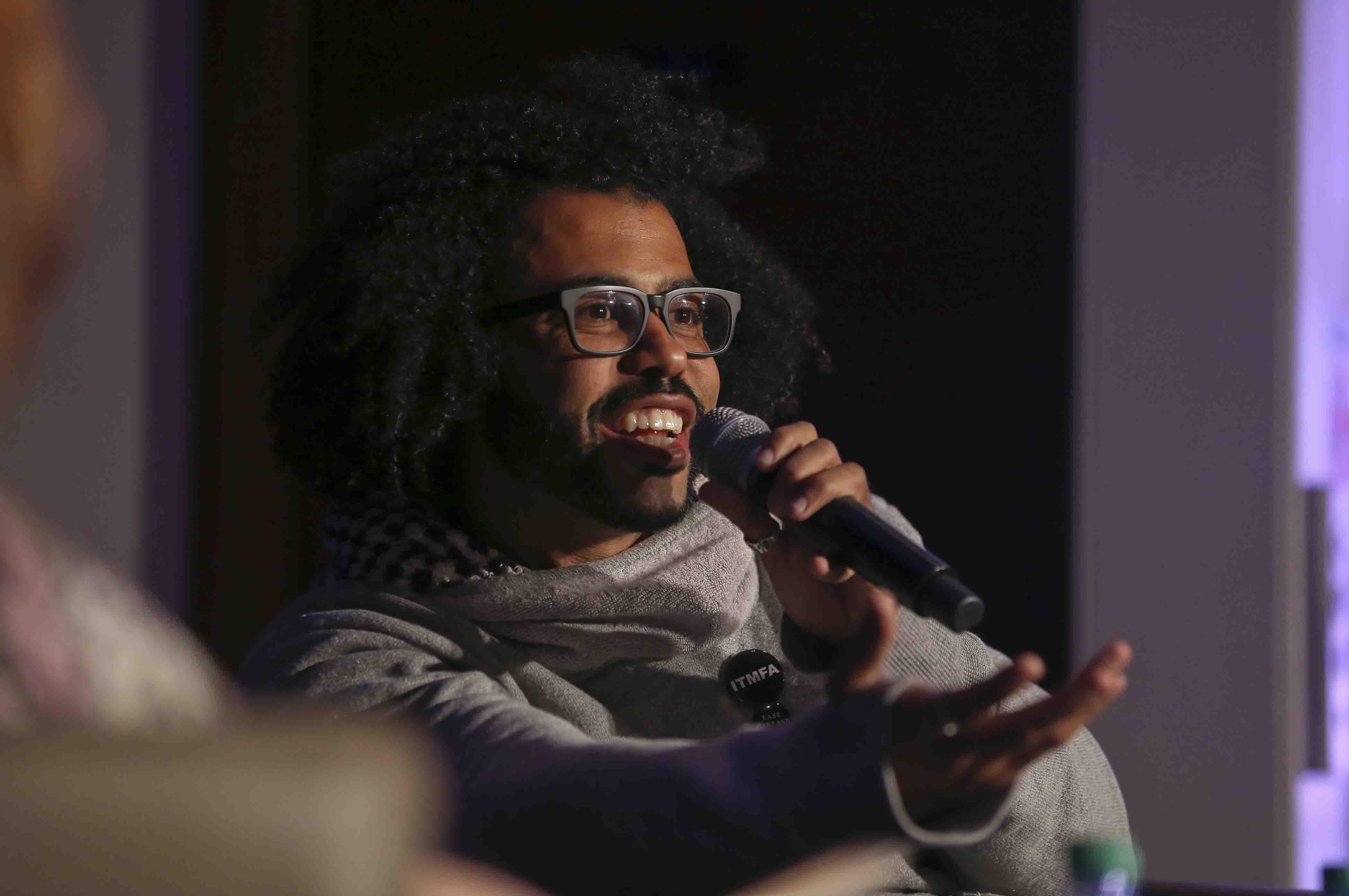 Hamilton star Daveed Diggs talks at Colton Chapel.