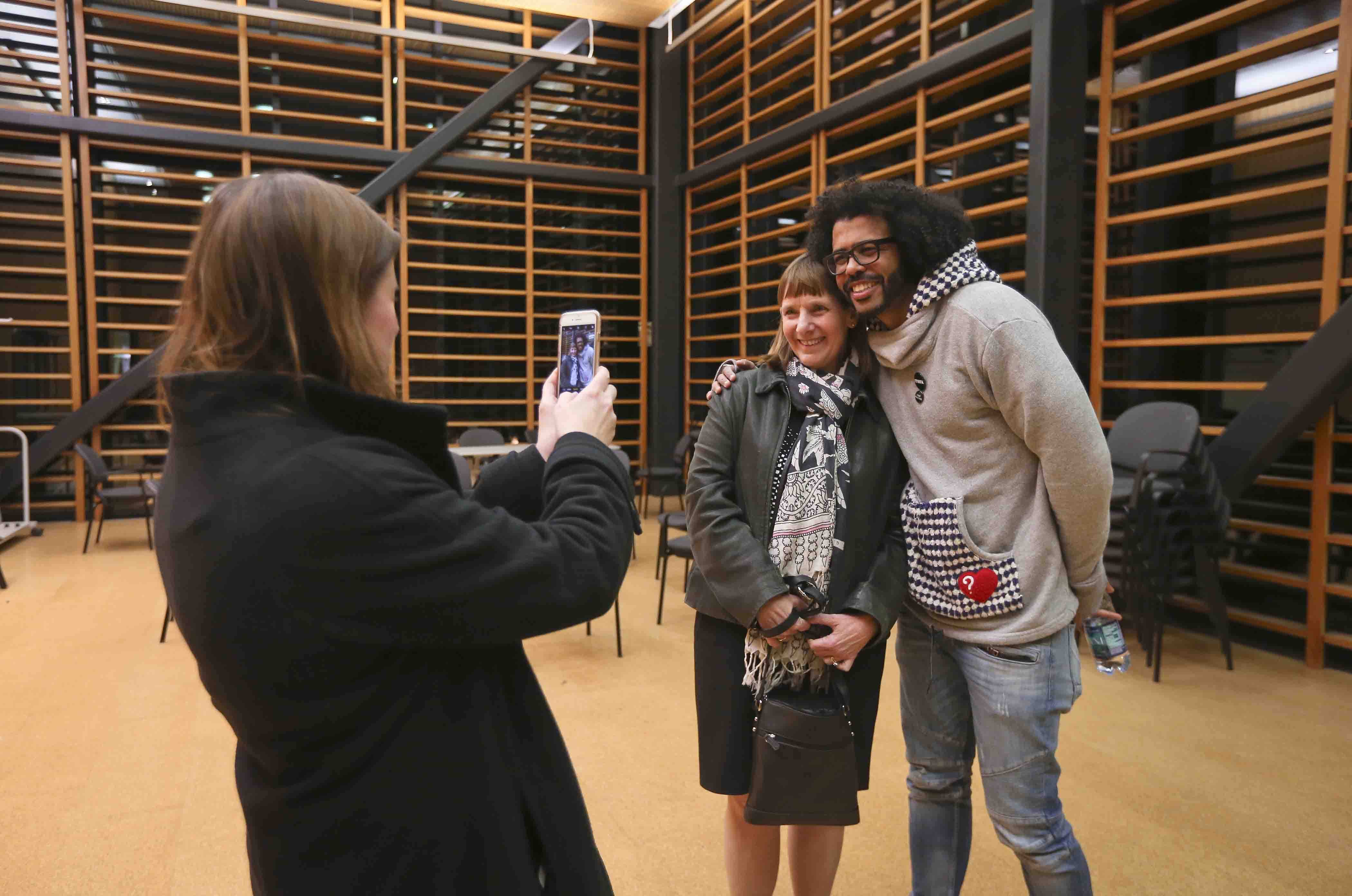 Hamilton star Daveed Diggs poses for a photo with Lafayette College President Alison Byerly.