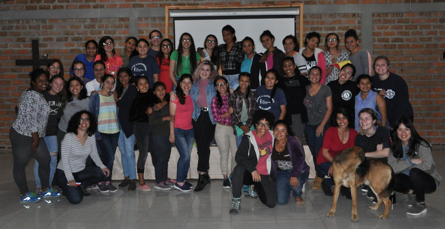 Lafayette students and students of The Leadership Center in Honduras